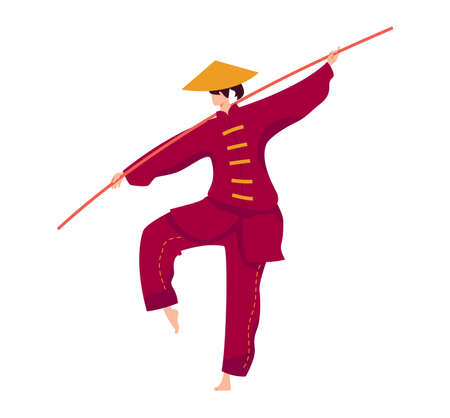 Martial art, japanese stick fighter, strong fighter, kung fu sport training exercise, flat vector illustration, isolated on white.