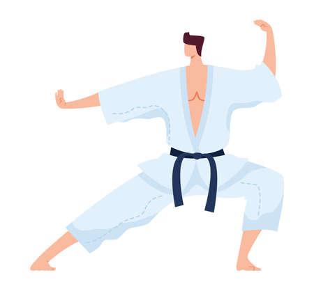 Martial art, japanese strong fighter in white kimono, kung fu sport training exercise, flat  illustration, isolated on white