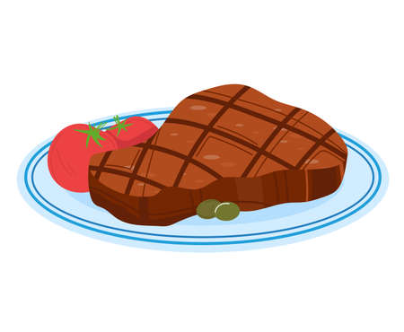 Meat pan, fresh food, cooking, breezy slice steak, fried background, isolated on white, design, flat style illustration.