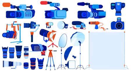 Photo video camera equipment vector illustration set, cartoon flat professional photographer cameraman modern tools collection