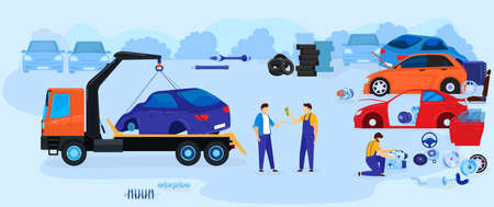 Car dump junkyard vector illustration vector illustration, cartoon flat junk yard landscape with old auto car for recycling