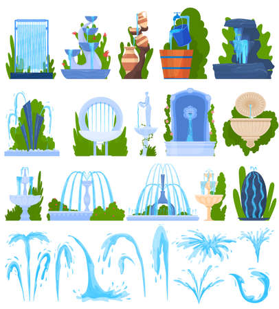 Water fountain architecture decor vector illustration set, cartoon flat architectural element, exterior park decoration collection Vecteurs