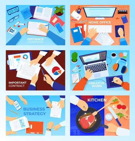 Workplace table desk top view vector illustration set, cartoon flat businessman hands and home or business office desktop for work