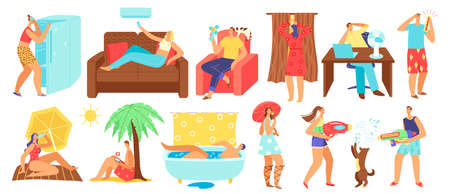 Hot summer heat day vector illustration, cartoon flat people sunbathing on tropical beach, sitting at home with air conditioner 向量圖像