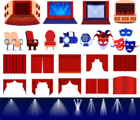 Theater stage decoration vector illustration set, cartoon flat theatre decorative items collection with red curtains, masks, chair