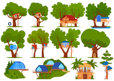 Kids green tree houses vector illustration set, cartoon flat ecological treehouse for child playing and eco party collection