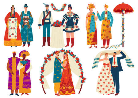 Wedding culture traditions vector illustration set, cartoon flat bridal traditional multicultural couples, bride and groom Ilustração