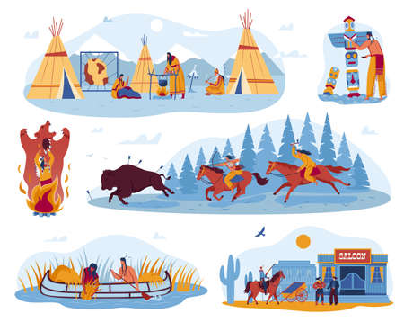 American, native indian wild life, culture in West, set of vector illustrations. Cowboys on horses and swild west saloon, traditional wigwam. 向量圖像