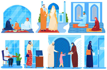 Arab family muslim or asian saudi people in traditional islamic cloths set of vector illustrations. People in national clothing hijab praying.