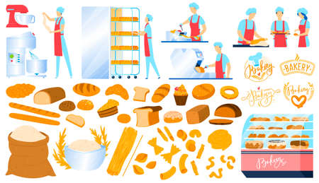 Bakery, pastry equipment, bread food isolated icons set of vector illustrations. Sweet pastries products, ingredients, bakers.
