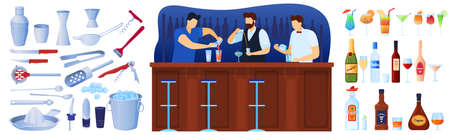 Bar with alcohol drinks and coctails equipment set of isolated vector illustrations. Barmen at counter pouring coctails. Glasses of beverage.