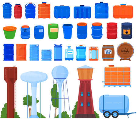 Barrels, tanks, reservoir and containers for liquid set of isolated vector illustrations. Plastic, metal and wood barrel collection.