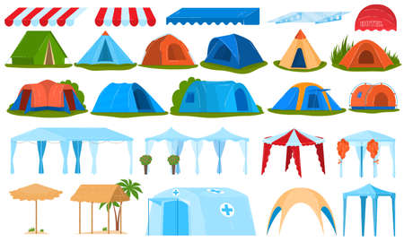 Camping tents, canopy, awning set of isolated vector illustrations. Tourist tent outdoor with canopy, shape of nylon dome hemisphere.