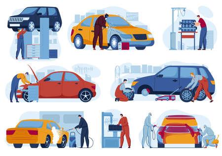 Car repair service for auto set of vector illustrations. Mechanics in auto garage tuning, car diagnostics. Wrench vehicles repairing.