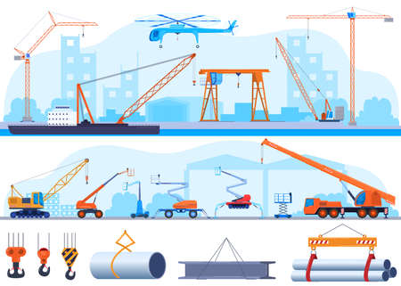 Crane, industrial construction icon or lifting equipment icons using in heavy industry set. Including with hoist lifting, hook, boom.