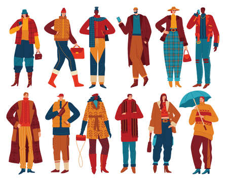 Fall fashion trends for fall people in trendy outfits set vector illustration. Fashionable style women and men in fashionable clothes.
