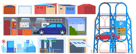 Garage door, parking buildings for cars vector illustrations. Automatic doors for auto, parking sign. Automobille repair service garage. 版權商用圖片 - 158368400