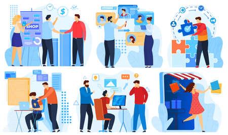 Hackathon project development in business, team programming set of vector illustration. Computer work on project Hackathon. 版權商用圖片 - 158382826
