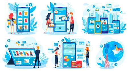 Online social media communication vector illustration set, cartoon flat character using mobile gadget app, internet network technology 版權商用圖片 - 158368686