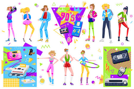 Retro disco people vector illustration set, cartoon flat woman man dancer characters dancing in fashion clothes and hairstyles in 90s