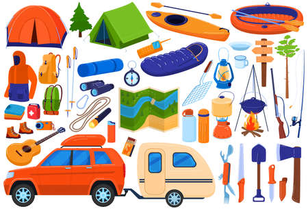 Tourism camp equipment vector illustration set, cartoon flat travel expedition collection for family tourists hiking, camping in forest 版權商用圖片 - 158368534