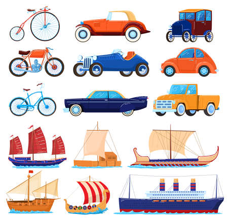 Vintage transport vector illustrations, cartoon flat transporting classic set of retro american sport cars, old bicycle, sea boats or ship Ilustracja