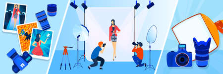Camera broadcast, reporter, photographer, cameraman vector illustrations banners set. News, press or journalism. Mass media and broadcasting.