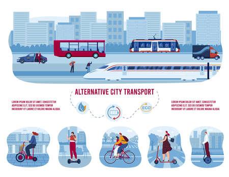 Electric eco transport, alternative city transportation set of vector illustrations. Modern bike, electric car with solar panels.