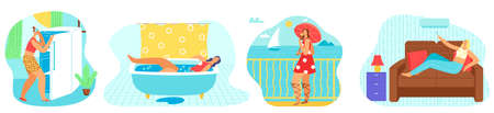 Hot weather and summer day set of vector illustrations. High temperature, sun, heat and tired woman in bath, near refrigerator. 版權商用圖片 - 158368476