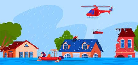Natural disaster, accident, danger vector illustration. Scared people in flooded street. Damaged houses. Flood disaster, tsunami, emergency.