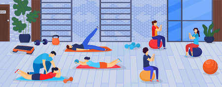 Sport and fitness in gym vector illustration. Healthy men doing exercises training with sports equipment, crossfit concept man and women.