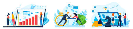 Business strategy vector illustrations set. Concept of analyzing project, financial report and strategy, analytics in finances.