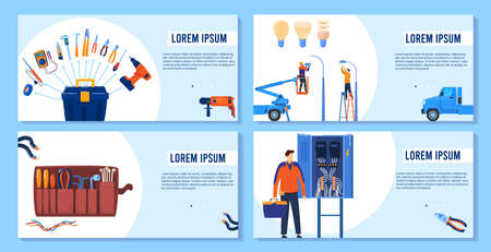 Electricity, electric tools, equipment banners set design, vector illustration. Professional electrician service. Voltage tools. 版權商用圖片 - 158368523