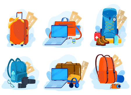 Travel luggage, suitcases, backpacks, packages set of isolated vector illustration. Tourism, hiking, trips and journey bags for vacation. 版權商用圖片 - 158368518