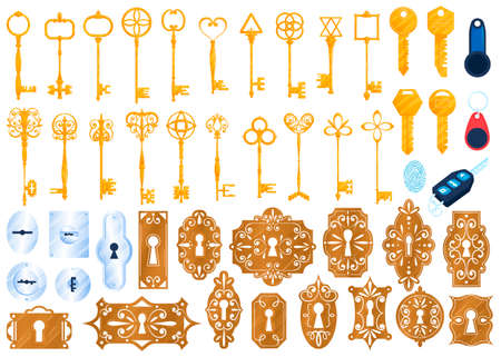 Old golden lock keys isolated vector illustrations set. Safety privacy secure keys, security door keyhole icons set. 版權商用圖片 - 158404751