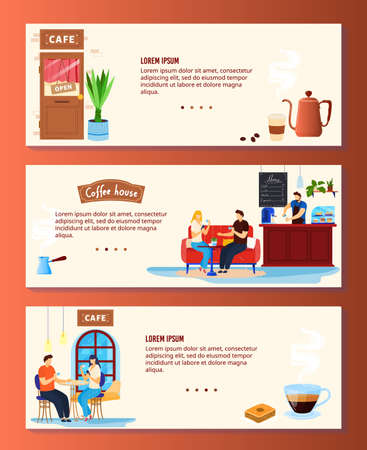 Coffee house vector illustration set, cartoon flat coffee shop banner collection with couple people drinking coffee in cafe bar 向量圖像