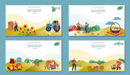 Farm agriculture product vector illustrations, cartoon flat farmer people working in farmfield, harvesting vegetables, sunflowers