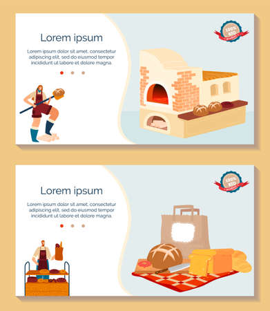 Bake bread vector illustration set, cartoon flat bakery shop banner collection with baker in apron working, baking bread loaf