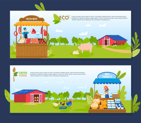 Farm agriculture vector illustrations, cartoon flat banner collection with farmer characters selling fresh meat and dairy products