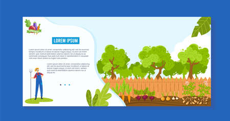 Farm agriculture vector illustration, cartoon worker man character standing with pitchfork, working, growing organic vegetables 向量圖像