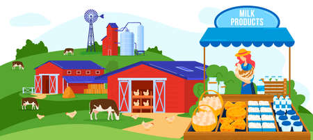 Farm dairy agriculture products vector illustration, cartoon flat farmer woman character selling farm milk, cheese, eggs on market