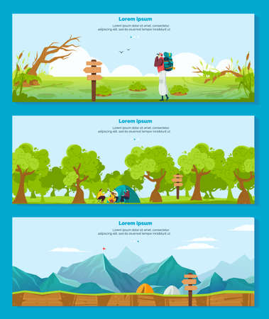 Hiking camping adventure vector illustrations, cartoon flat banner collection with hiker tourist character backpacking outdoor
