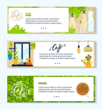 Vegan vegetarian green cafe vector illustrations, cartoon flat banner collection with modern interior of veggie cafeteria