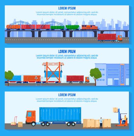Transport logistic delivery vector illustration, cartoon flat delivering company banner collection, freight transportation set