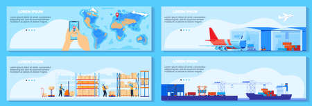 Global chain supply, logistic delivery service vector illustration, cartoon flat infographic cargo shipment banner collection