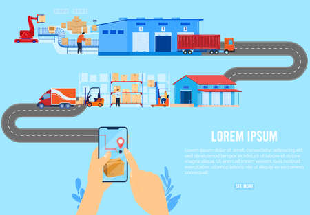 Logistic delivery chain supply concept vector illustration, cartoon flat distributor company delivering goods packaging by courier