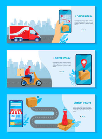 Online delivery service concept vector illustration, cartoon flat delivering boxes of goods banner collection, ordering, tracking 向量圖像