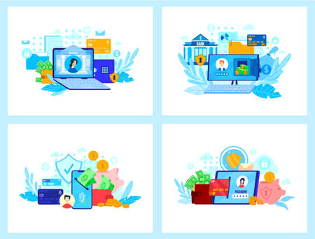 Online banking technology vector illustration, cartoon flat mobile app for electronic transfer money, customer support service 版權商用圖片 - 158404295