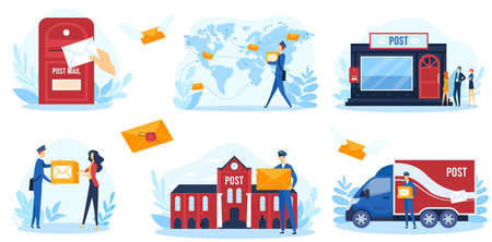 Post service vector illustration, cartoon flat postal infographic banner collection with postman character shipping parcel mail