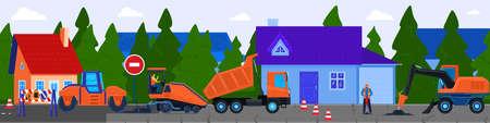 Road construction vector illustration, cartoon flat worker people working with tractor paving machine, repairing asphalt street 向量圖像